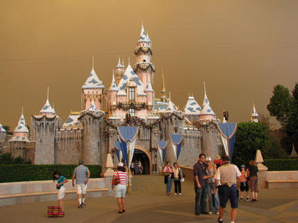 Disneyland Ca under forest fire skies