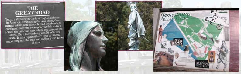Historic Jamestown statues and panels