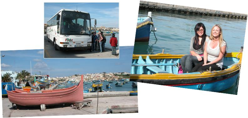 Marsaxlokk boats and bus