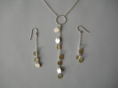 leaf Y necklace and earrings