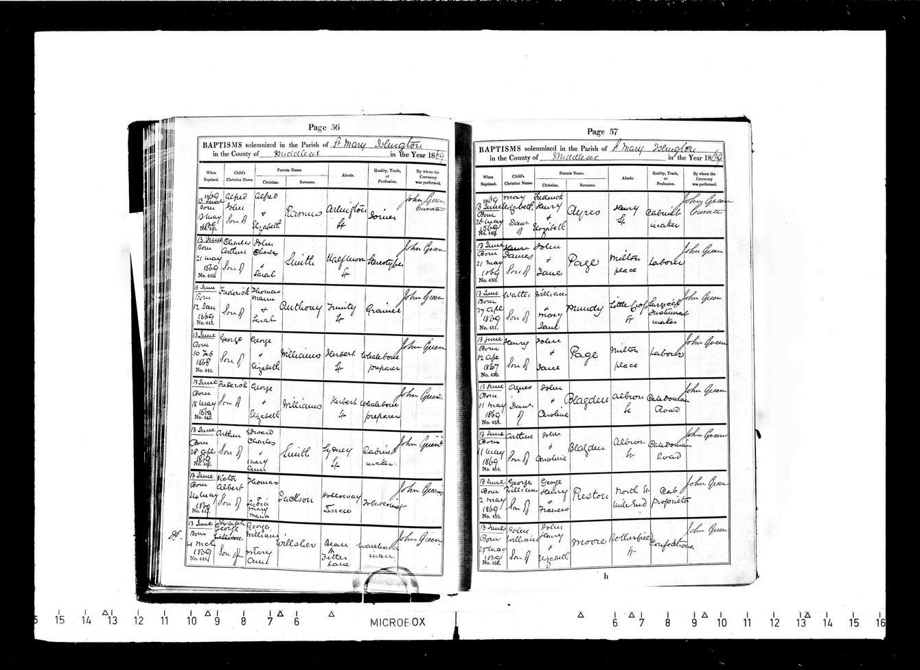 Alfred John Ramus baptism 1869
