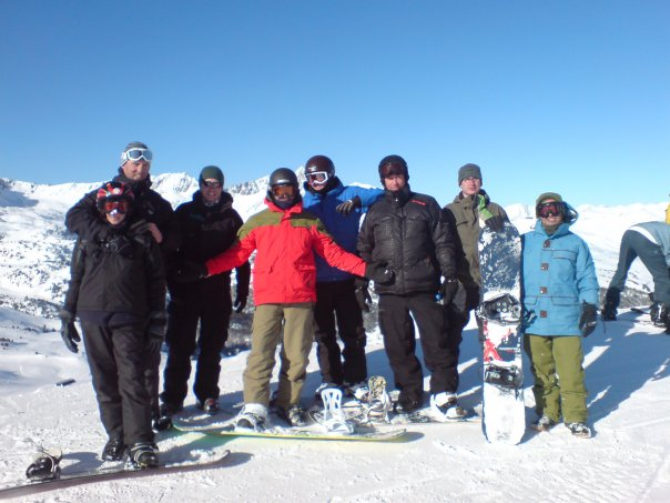 Eight amigos at the top of the hill