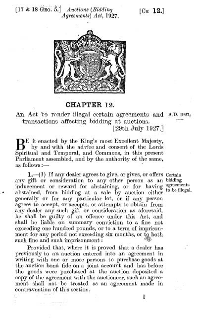 Auction (Bidding Agreements) Act 1927