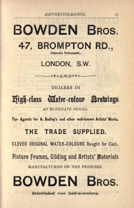Bowden Brothers, dealers in water colour drawings. Advert from The Years Art 1898, compiled by A.C.R.Carter