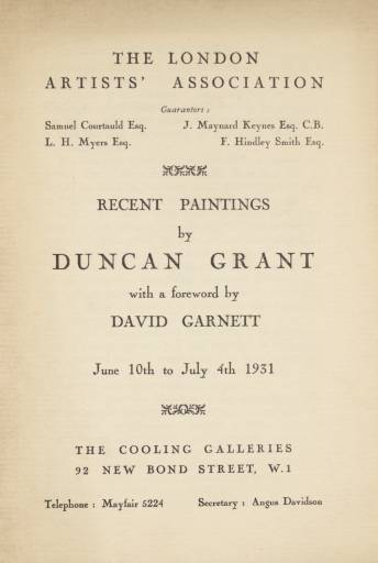 Cooling Galleries exhibition advert 1931