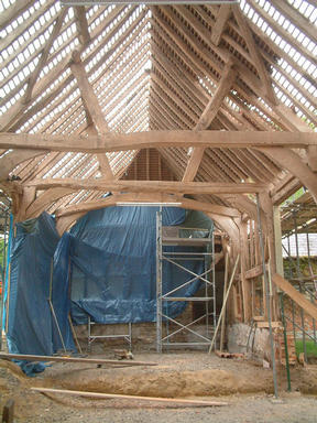 Barn roof half stripped