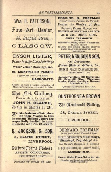 1898 edition of The Years Art, Fine Art Journal. Advert showing Dyson Lister, art dealer.