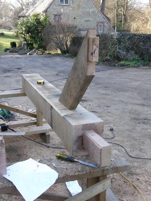 Oak posts and knees under way