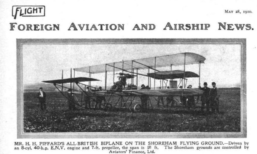 Harold Hume Piffard on his 'Hummingbird' flying machine at Shoreham Aerodrome 1910
