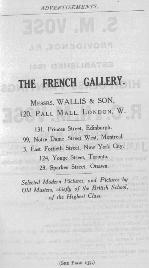 The French Gallery full page advert in The Years Art 1910