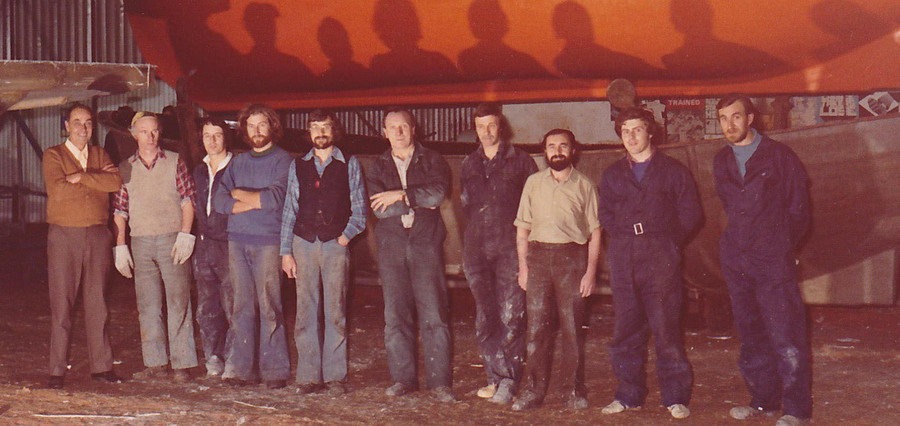 Glass shop lads, circa 1978 ish. Courtesy of Dick Keevil, who is third from the left