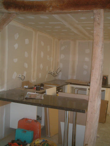 Kitchen units, and worktops mitred