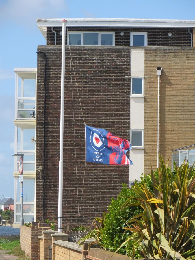 Battle of Britain flag at half mast on Shoreham Beach