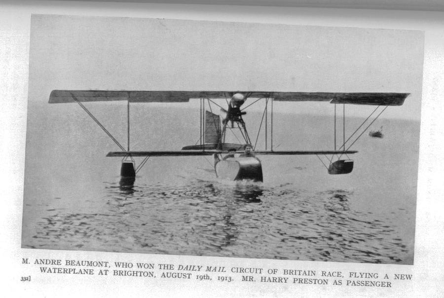 Sir Harry Preston flying off Brighton with Andre Beaumont in 1910