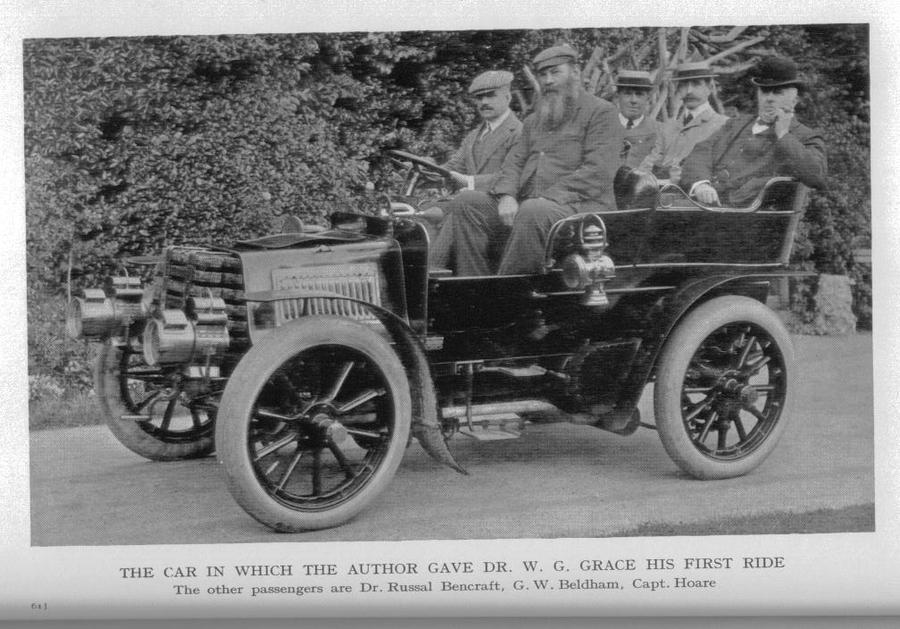 Harry Preston in his first car, with W.G. Grace as one of the passengers