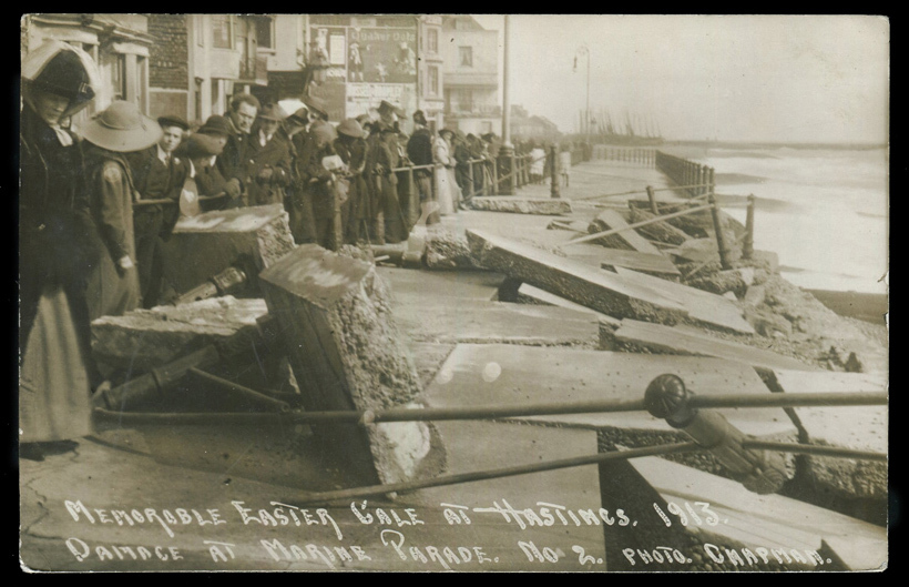 Hastings residents view the damage after the storm. 23rd March 1913