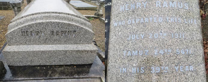 Henry Ramus  Marble tombstone, Hoop Lane Cemetery, Golders Green, London