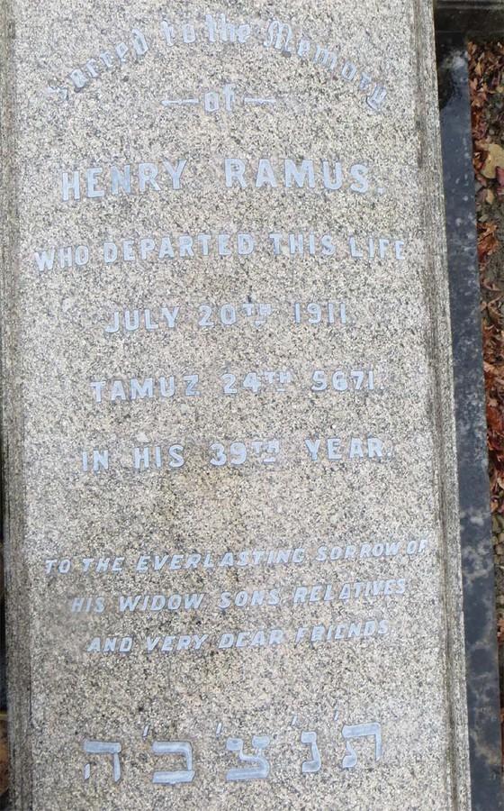 Henry Ramus' grave inscription