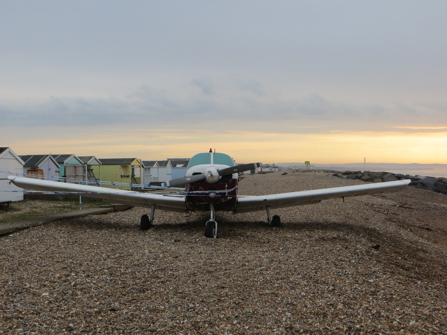 The aircraft that glided in to the sea off Widewater Lagoon, Lancing