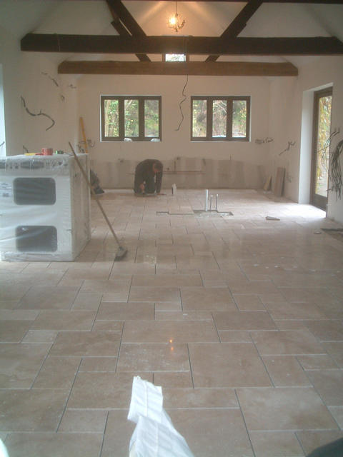 'Garage' kitchen, tiled n ready to grout