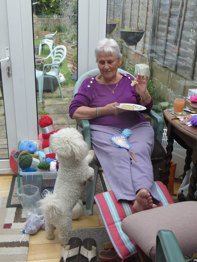 Ma in the sunny porch with our beloved pup, Freddie