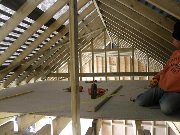 Loft floor going in, framework still on view
