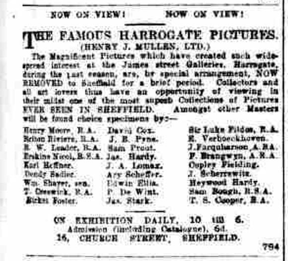 Sheffield Independent newspaper, 9 Nov 1908. Advert for Henry J Mullen LTD