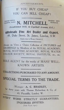 Nathan Mitchell full page ad in The Years Art 1910