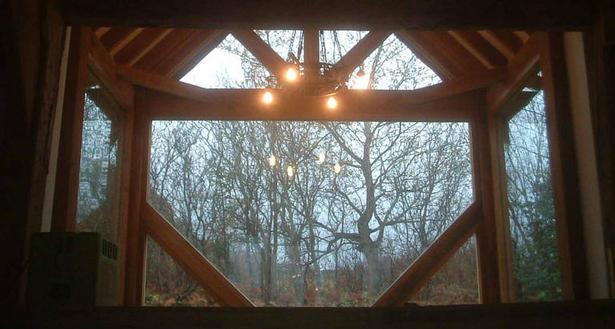 November arvo through the 'Porch', chandelier alight