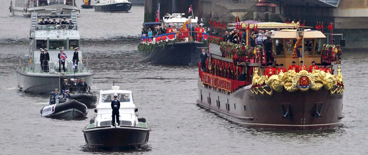 Watercraft designed P20's escorting the Queens Barge during the Jubilee Pageant up the Thames