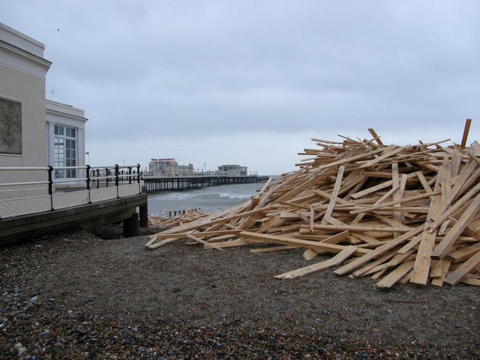 Timber galore washed up at Worthing, January 2008