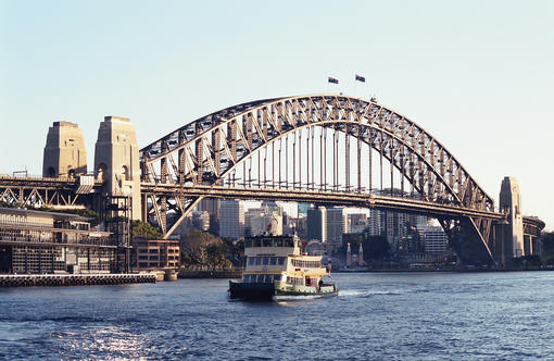 View of Sydney harbour bridge from Circular Quay