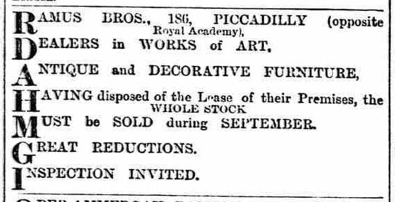 Ramus bros change of address of premises advert 1900