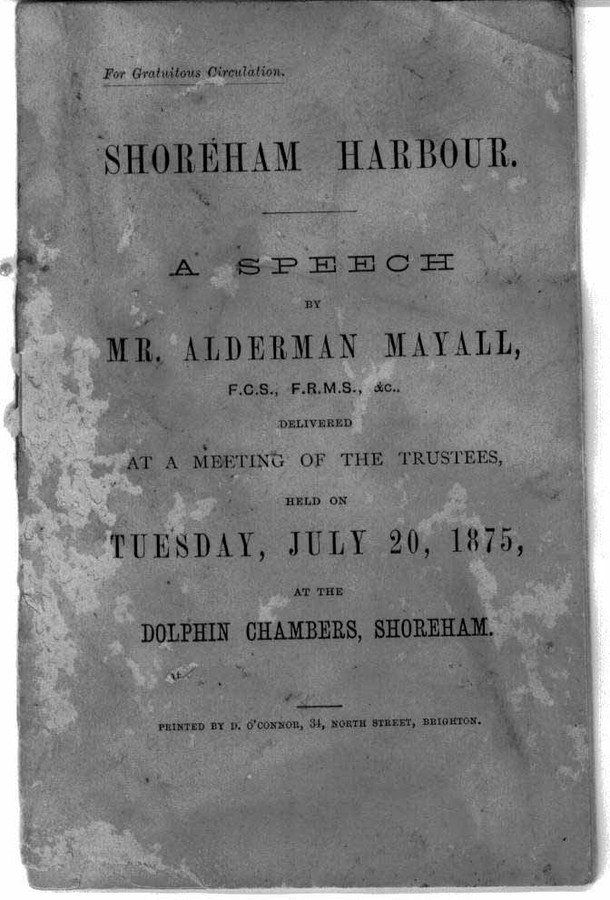 The front cover of J.J.E.Mayalls address to the trustees and shareholders of Shoreham Harbour, 20th July 1875