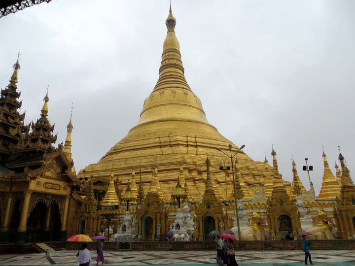 Shwedagon Pagoda, Yangon, Myanmar. It was raining