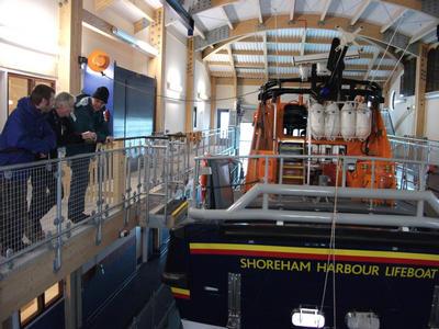 Shim n Chris getting the Shoreham Lifeboat station tour