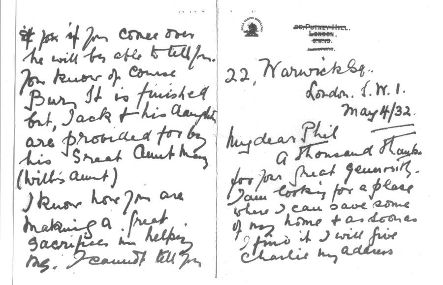 A copy of the letter from Simeta Sampson to Philip Rosenbach, written May 4th 1932