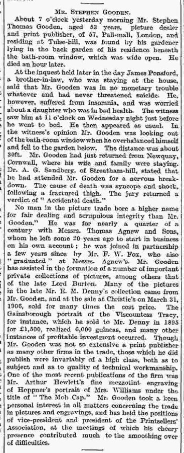 Stephen T Gooden's obituary from the Times, 24th September 1909