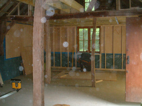 The Granary, floored out, framed, sealed, and posts fitted
