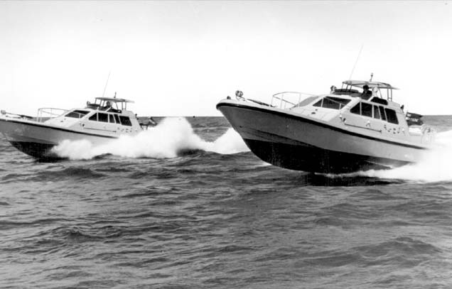 Two of the P12's being put through their paces on sea trials