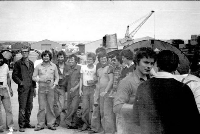 Some of the workforce enjoying a beer by the far slipway, I think to toast the finish of one of the boats. Slightly before my time there.
