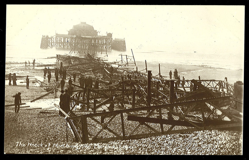 Worthing pier after the storm, 23rd March 1913