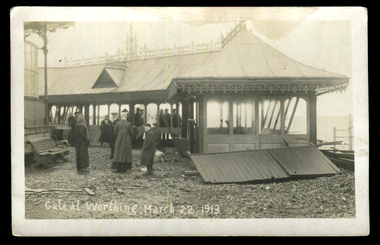 Worthing seafront promenade damage. March 1913