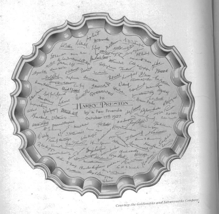 """The Silver Salver presented to Harry Preston, """"by a few friends"""", a couple of whom were, W.W.Sampson, and Edward, Prince of Wales"""