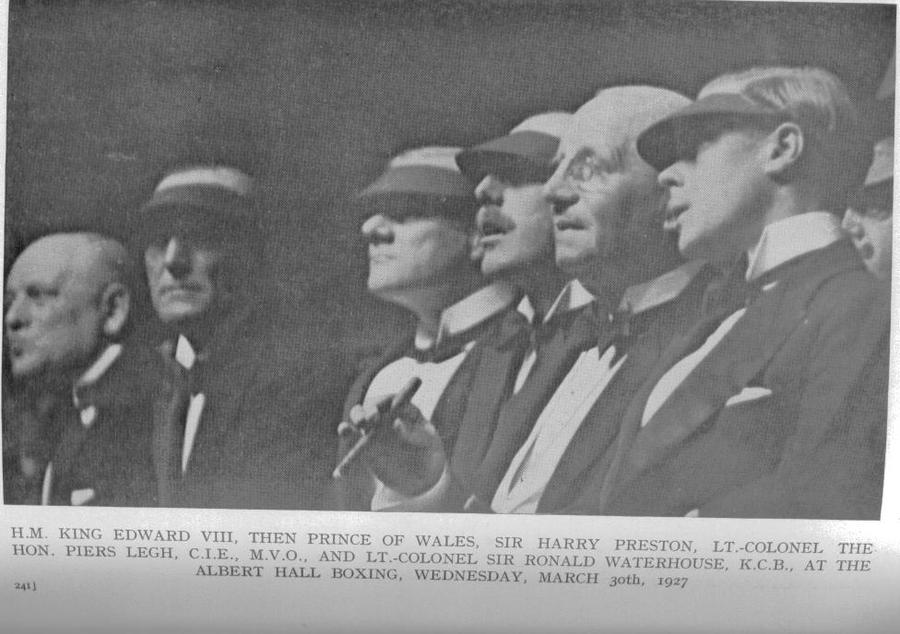 Harry Preston and Edward Prince of Wales at the Albert Hall, March 30th 1927, watching the boxing