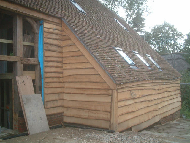 'wainy' edge oak board cladding finish