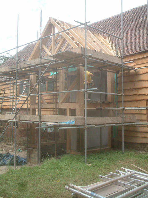 The oak extension at the rear of the barn