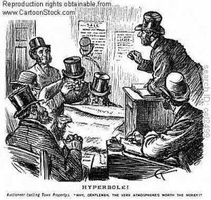 A Victorian cartoon of 'The Ring' in the Snug after an auction