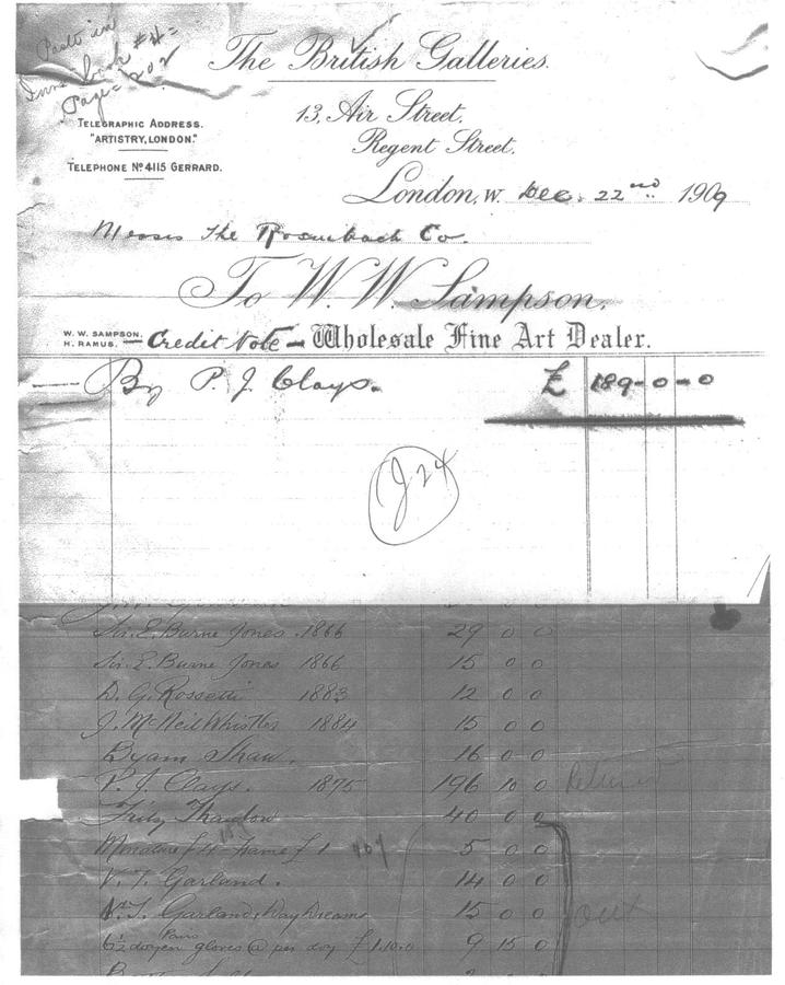 A transaction copy showing for the first time, the names of W.W.Sampson, and Henry Ramus, under the banner of 'The British Galleries'