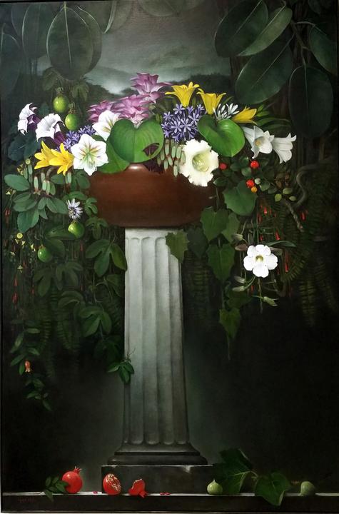 a tall floral arrangement